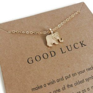 Jewelry - Good Luck Elephant Pendant Necklace Gold OS